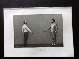 Badminton Library 1889 Sword Fencing Print. End of the Salute